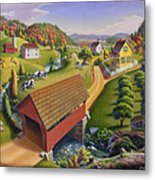 Folk Art Covered Bridge Appalachian Country Farm Summer Landscape - Appalachia - Rural Americana Metal Print