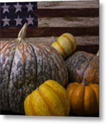Folk Art Flag And Pumpkins Metal Print