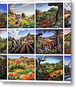 Folk Art Seasonal Seasons Sampler Greetings Rural Country Farm Collection Farms Landscape Scene Metal Print