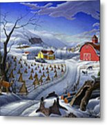 Folk Art Winter Landscape Metal Print