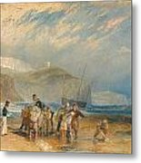 Folkestone Harbour And Coast To Dover Metal Print