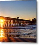 Folly Beach Pier At Sunrise Metal Print