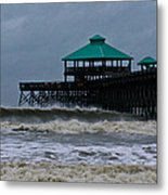Folly Beach Pier During Sandy Metal Print