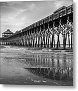 Folly Beach Pier In Black And White Metal Print