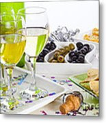 Food And Wine On A Buffet Table Metal Print