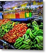 Food Market Metal Print by Denisse Del Mar Guevara
