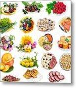 Food On Plates Set Metal Print