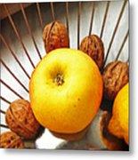 Food still life - yellow apple and brown walnuts - beautiful warm colors Metal Print