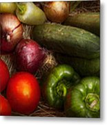 Food - Vegetables - Onions Tomatoes Peppers And Cucumbers Metal Print