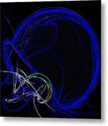 Football Helmet Blue Fractal Art Metal Print
