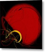 Football Helmet Red Fractal Art 2 Metal Print by Andee Design