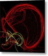 Football Helmet Red Fractal Art Metal Print by Andee Design