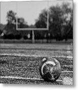 Football In Black And White Metal Print