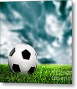 Football Soccer A Leather Ball On Grass Metal Print
