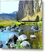 Footbridge At Smith Rock Metal Print