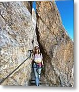 Footbridge On Via Ferrata Metal Print