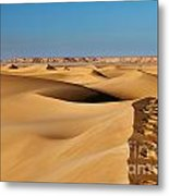 Footprints And 4x4 Offroad Car In Landscape Of Endless Dunes In Sand Desert  Metal Print
