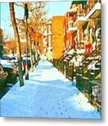 Footprints In The Snow Montreal Winter Street Scene Paintings Verdun Christmas  Memories  Metal Print