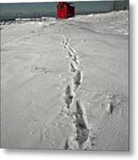 Footprints Leading From The Lighthouse Big Red During Winter Metal Print