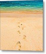 Footprints Leading To Paradise Metal Print
