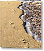 Footprints On Beach Metal Print