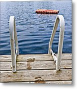 Footprints On Dock At Summer Lake Metal Print