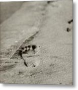 Footprints On The Beach Metal Print