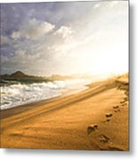 Footsteps In The Sand Metal Print