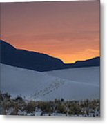 Footsteps In White Sands Leading To Sunset Metal Print