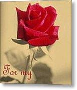 For My Love Vintage Valentine Greeting Card  Metal Print
