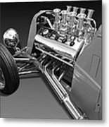 Ford Coupe Hot Rod Engine In Black And White Metal Print