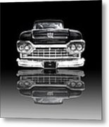 Ford F100 Truck Reflection On Black Metal Print