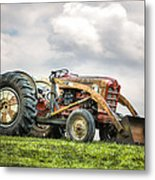 Ford Powermaster Tractor On A Hill Metal Print by Gary Heller