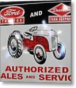 Ford Tractor Sign Metal Print