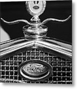 Ford Winged Hood Ornament Black And White Metal Print