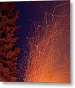 Forest Fire Danger Hot Spark Trails From Campfire Metal Print