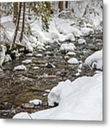 Winter Forest River Metal Print