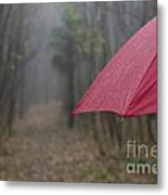 Forest With A Red Umbrella Metal Print
