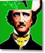 Forevermore - Edgar Allan Poe - Green Metal Print