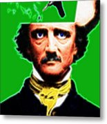 Forevermore - Edgar Allan Poe - Green - With Text Metal Print