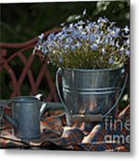 Forget-me-nots And Small Watering Can  Metal Print