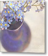 Forget Me Nots In Blue Vase Metal Print
