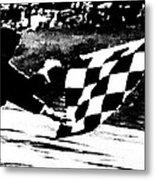 Formula 1 Vintage Checkered Flag Metal Print