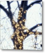 Forsythia  And Tree Trunk Metal Print