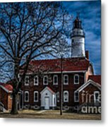 Fort Gratiot Lighthouse And Buildings With Clouds Metal Print