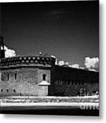 Fort Jefferson Walls With Garden Key Lighthouse Bastion And Moat Dry Tortugas National Park Florida  Metal Print