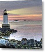 Fort Pickering Lighthouse At Sunrise Metal Print