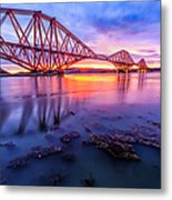 Forth Rail Bridge Stunning Sunrise Metal Print