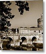 Fortress And Bridge In Sepia Metal Print