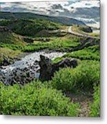 Fossa Waterfall In Hvalfjordur, Iceland Metal Print